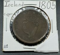 1805 Ireland Large Penny Copper Coin Circulated