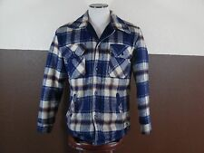 Vintage JC Penny Wool Mackinaw Heavy Fleece Lined Jacket Blue & Beige Plaid Med