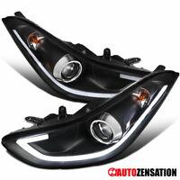 For 2011-2013 Hyundai Elantra 4Dr Sedan Black LED Bar Projector Headlights Lamps