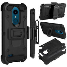 Rugged Hybrid Shockproof Holster Cover Hard Armor Case For LG K30/K10 Alpha 2018