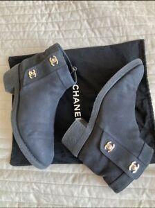 Authentic  Chanel combat boots shoes CC logo size 39.5 EU, 9 US