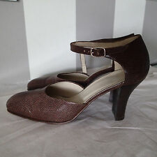 joan david shoes  sz 6.5  LEATHER high heel brown ankle strap p