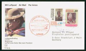 Mayfairstamps Ecuador Flight 1985 Quito to Frankfurt Pope Man in Costume Cover w