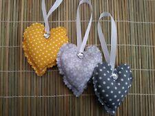 padded fabric hanging hearts grey/mustard yellow floral and polka dots bedroom