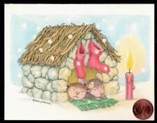 Christmas House Mouse Mice Sleeping Stockings Hanging - Christmas Greeting Card