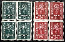 AUSTRIA 1937 Sc#388-389 Congratulation issue 2 blocks X 4 Mint NH OG VF/XF (L-57