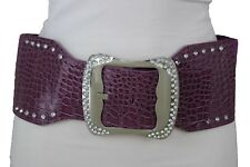 New Women Stretch Purple Wide Belt Silver Metal Rhinestones Buckle Plus Size M L