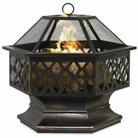 Hex Shaped Patio Fire Pit Outdoor Home Garden Backyard Firepit Bowl Fireplacer