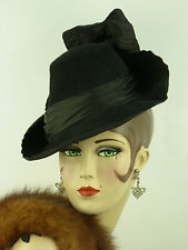 Cappello VINTAGE 1940s inclinazione francese Coprimaterasso W Orlo inclinato, CORONA, raso Band & Big Bow