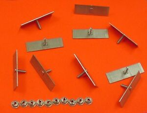10 Ford Body Side Moulding Fasteners 2-1/2 x 3/4 Perforated Clips Bolts NOS 378
