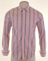 TED BAKER Mens Shirt Size 4 Large White Striped Cotton  IE07