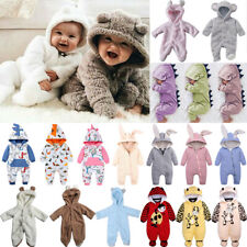 Infant Newborn Baby Girl Boy Cute Bodysuit Fur Soft Hooded Romper Clothes Outfit