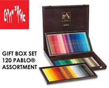 Caran d'Ache Pablo 120 Crayon de couleur Boîte en bois Ensemble Cadeau Artiste Croquis Tirage