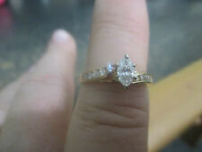 14K  YELLOW GOLD ENGAGEMENT RING WITH ACCENTS; MARQUIS STONE WITH SIDE DIAMONDS