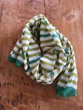 Burberry Children lightweight cotton scarf white olive green striped polka dots