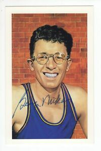 George Mikan - Basketball Hall of Fame - Autographed Ron Lewis Art Postcard