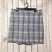 Eddie Bauer Plaid Shorts Mens Size 36 Blue Flat Front Casual Golf Summer