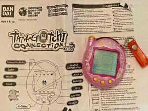 Tamagotchi connection metallic pink collectable rare pet V3 bandai 2004 w manual