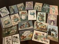 Lot of 20 Easter Holiday~Vintage~Postcards with Chicks~Bunnies~Flowers-b277