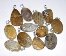 New 5 PCs Natural FOSSIL CORAL Gemstone 925 Sterling Silver Plated Pendant VPB86