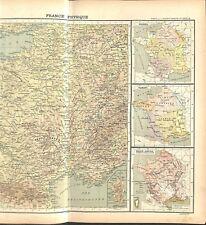 France Physique Superficie relief du sol Massif Central Vosges MAP CARTE 1896