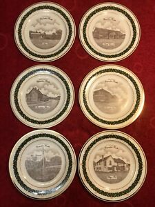 The Canterbury Collection plate .Set Of 6  18-carat gold border Lim Edition 2/75