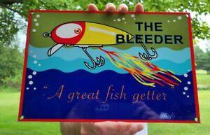VINTAGE OLD BLEEDER FISHING LURES PORCELAIN ENAMEL BAIT TACKLE RAPALA METAL SIGN