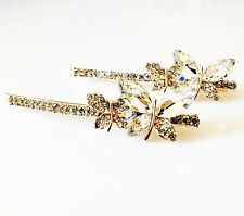 USA Bobby Pin Using Swarovski Crystal Hair Clip Hairpin Butterfly Gold Clear 38