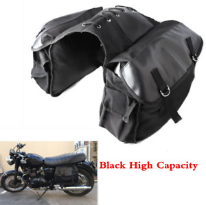 Black Canvas High Capacity Motorcycle Saddle Bag Saddlebags Storage Universal