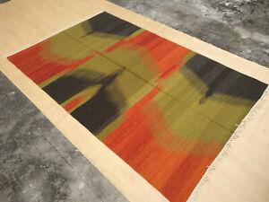 Ikat 5x8 Rug Afghan Hand Woven Tribal Turkish Flat Weave Kilim Wool Dhurrie Rug