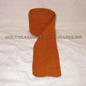 Orange Wadenwickel pflanzengefärbt 100%Schurwolle Fischgrat Beinwickel Meterware