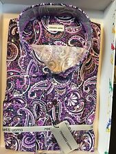 NWT Rossetti Uomo Mens Long Sleeve Cotton New Multi Color Paisley Shirt Size XL