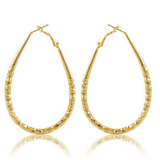 Womens 14k Gold Plated Big Oval Circle Ear Hoop European Earrings Jewelry Gift