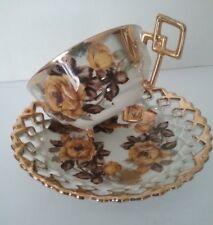 Japan Castle Harvest Gold Roses Geometric Handle Porcelain 1950's Teacup Set