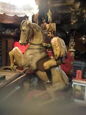 Espectacular talla madera de origen francés soldado con caballo preciosa.