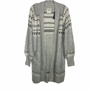 Abercrombie & Fitch Fair Isle Duster Cardigan Sweater Pockets Long Size Medium