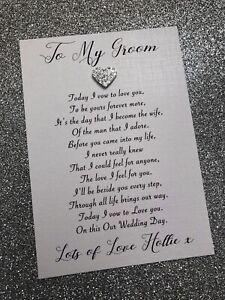 Personalised To My Groom / Husband Wedding Day Card Poem + Envelope