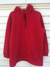 Lands End Womens M 10-12 Red Hooded Pullover Polartec Fleece Jacket Sweatshirt