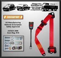 Vw Transporter T2 Camper Van Front Rear 3 Point Automatic Inertia Red Seat Belt