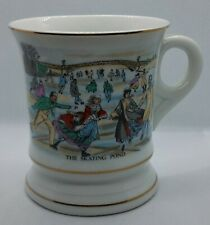 Mustache Mug Cup The Skating Pond Victorian Winter Scene Currier Ives Gold Trim