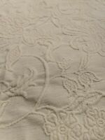 Pottery Barn TWIN Green Floral Matelasse Bedskirt Bed Dust Ruffle Bedding Bedroo