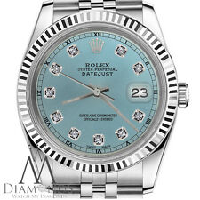 Men's Rolex 36mm Datejust Ice Blue Color Dial with Diamond Accent RT Watch