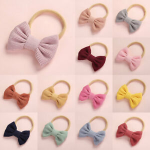 Baby Girls Corduroy Bow Headband Newborn Nylon Head Band Hair Rope Accessories
