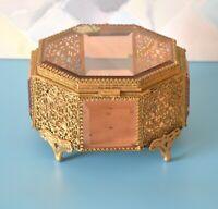 Vintage Regency JEWELRY TRINKET CASKET BOX, Ormolu Gold Filigree + Beveled Glass