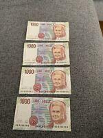 Italia Repubblica 4 Banconote 1000 Lire Montessori
