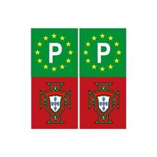 Portugal FPF F autocollant sticker plaque rouge vert europe P arrondis