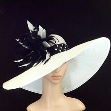 White Kentucky Derby Hat Wide Brim Black Polka Dot hat band Hand-trimmed Feather