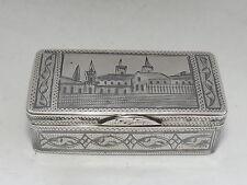 ANTIQUE RUSSIAN IVAN LEBEDKIN SOLID SILVER & NIELLO SNUFF BOX MOSCOW 1898 -1914