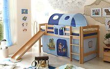 Lit mezzanine avec toboggan THEO R Hêtre massif tissus Pirate Bleu clair-Bleu fo