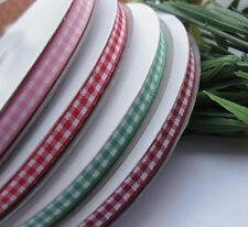 """1/4"""" 6mm tartan plaid ribbon bows appliques craft/sewing/doll Lots U pick 50Yard"""